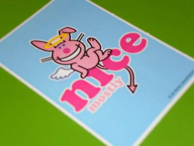 Happy Bunny sticker / Nice Mostly Great for Notebooks binder backpack scrapbook