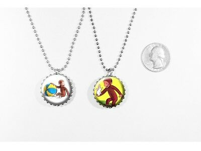 CURIOUS GEORGE-  2 sided necklace- Funny Monkey