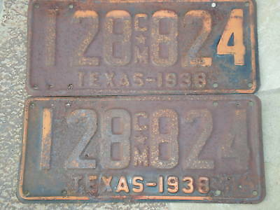 1938 Texas Commercial License Plates 128 824