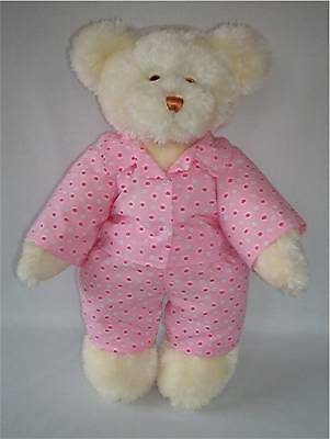 LINDONJOINTED BEAR16inch/40cmTALL IN PINK FLORAL PYJAMAS RRP £35 ON OFFER AT £20