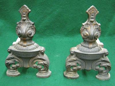 Decorative Antique Brass Fireplace Andirons Vintage Cast Iron