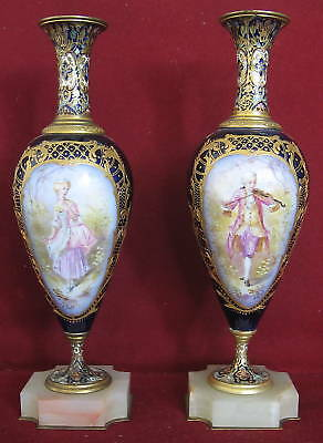 Pair of French Sevres Porcelain Enamel Champleve Bronze Vases   MAGNIFICENT