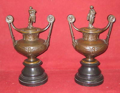 Pair of 19th C Fine french Bronze Covered Figurin Urns   MAGNIFICENT