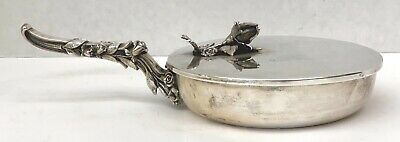 Rare 800 German Sterling Silver Silent Butler Dish   MAGNIFICENT