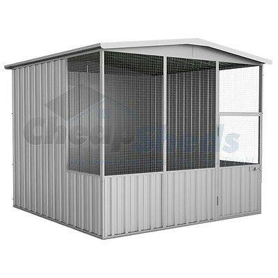 Absco Gable Roof Aviary 2.3m x 2.2m Zincalume Cage Wide Mash Coop 30 Yr Warranty