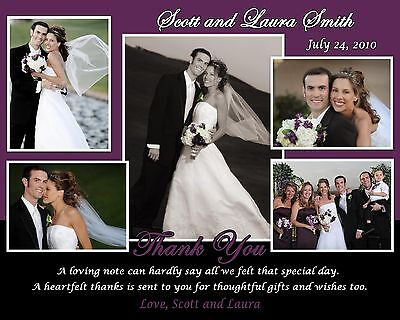 100 Personalized Wedding Thank you 5 photo cards 6x7.5