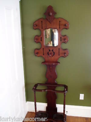 Gorgeous Victorian Hall Stand W/cast Iron Drip Trays