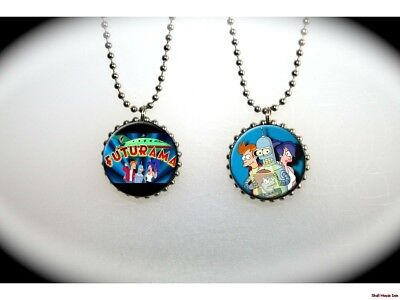 FUTURAMA - Matt Groening - Fry - Leela - Bender  -  2 sided necklace