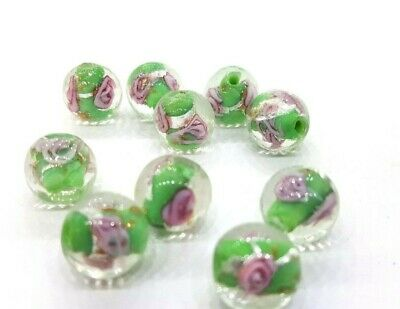 10 pieces 12mm Lampwork Round Beads - Green - A3998