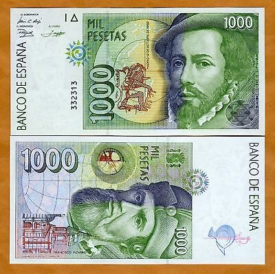 Spain, 1000 (1,000), 1992, P-163, UNC   Very Low S/Ns