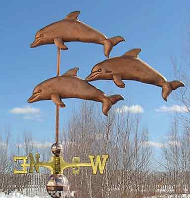 "Large Copper ""3 Dolphins "" Weathervane Made In Usa #146"