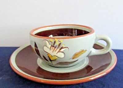 Golden Harvest by Stangl White Tan Cup & Saucer Set