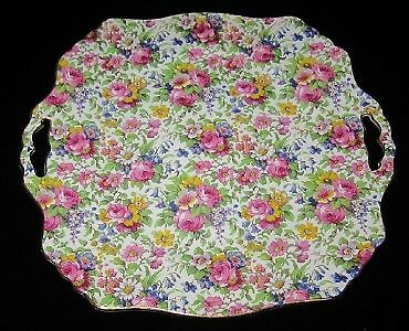 Royal Winton SUMMERTIME Chintz Square Handle Cake Plate