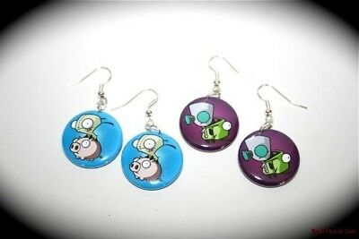 INVADER ZIM GIR 2 pairs of button charm EARRINGS