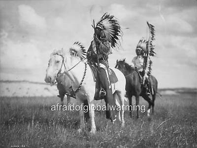 Photo 1900s Three Sioux Indian Chiefs on Horseback