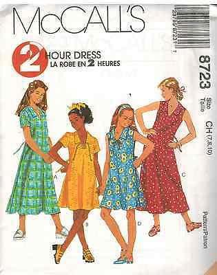 8723 UNCUT McCalls SEWING Pattern Little Girls V Neck Pullover Dress Summer OOP
