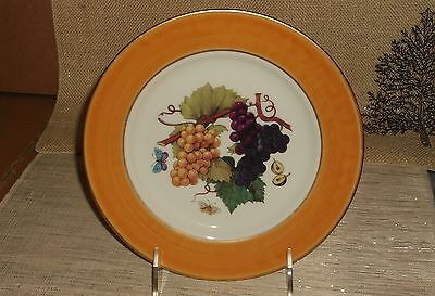 Email Limoges Grape Pattern Lead Free Plate Grapes on Vine Orange Border Used