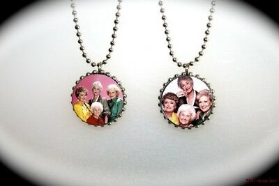 THE GOLDEN GIRLS .  2 sided necklace