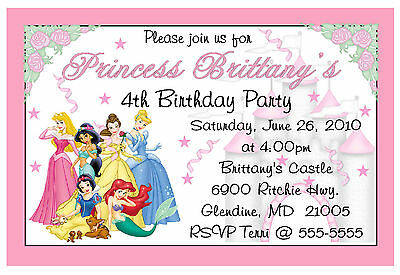 DISNEY PRINCESS custom BIRTHDAY INVITATIONS