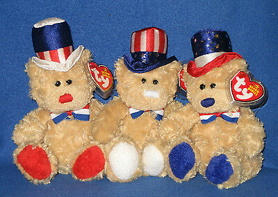 TY INDEPENDENCE SET - BEANIE BABY BEAR SET OF 3 - MINT with MINT TAGS