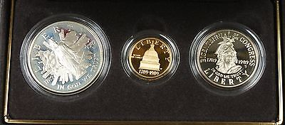 1989 Congressional Commemorative 3 Coin Proof Set, Gold & Silver OGP