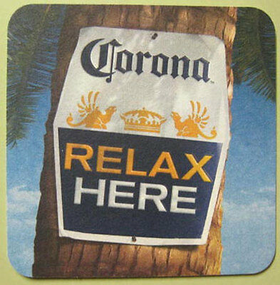 CORONA RELAX HERE Beer Coaster Mat w Lime Bottle MEXICO