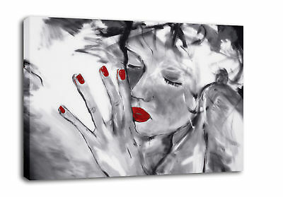 Red Grey Canvas Painting Art 'Missed You' framed A1
