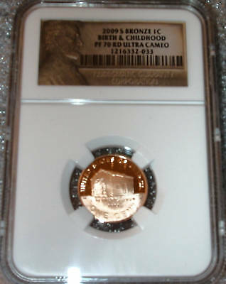 2009 S Bronze Lincoln Cent Birth &childhood (Log Cabin) Ngc Pf 70 Rd Ultra Cameo