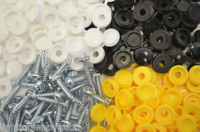 1000 X Number Plate Car Fixing Fitting Kit Screws White Yellow & Black Caps