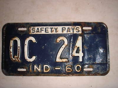 1960 Indiana License Plate Qc 24