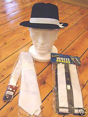Fancy Dress Gangster Costume Al Capone Black Trilby Hat White Braces And Tie Set