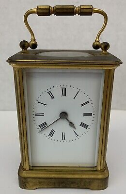 French Antique Brass & Beveled Glass Carriage Clock    Very Rare