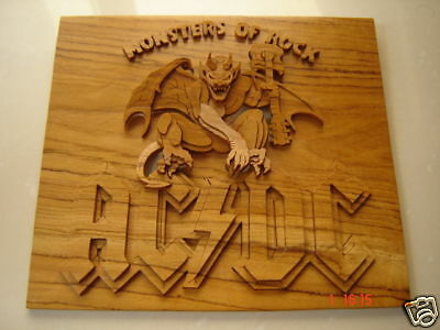 Rare Handmade AC/DC Monsters of Rock Logo On Teak Wood