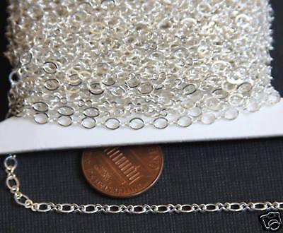 100 ft Silver Plated Figure 8 Connector Chain 2.5X3.1mm