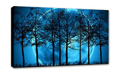 Large Blue Canvas Picture Print Modern Art Framed A1 +