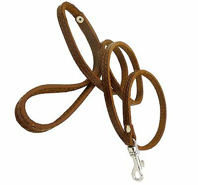 """Genuine Leather Dog Leash 3/8"""" wide Poodle, Yorkshire Terrier, Puppies"""