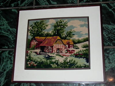 Framed Needlpoint House Landscape Scene Wall Hanging