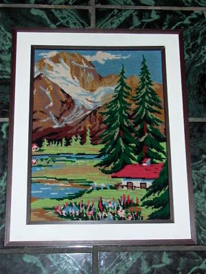 Framed Needlpoint Mountains Trees Landscape