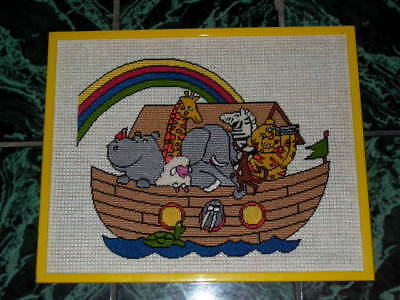 Framed Childrens Noah's Ark Needlpoint Wall Hanging