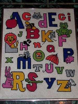 Framed Childrens Needlpoint Alphabet Letters