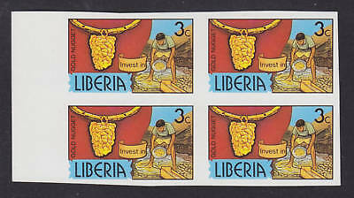 Liberia Sc 946 MNG,1981 3c gold, imperf PROOF block, XF