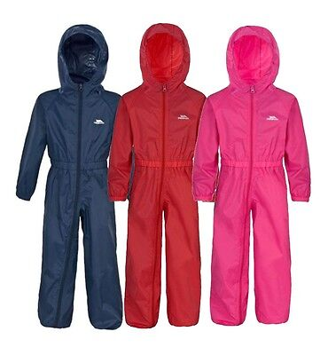 Trespass Button Waterproof Breathable All In One Rainsuit Boys Girls Child