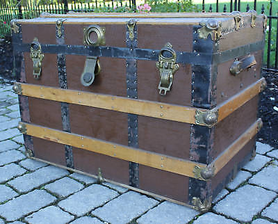 Antique Trunk Chest for Storage, Decoration, Planter