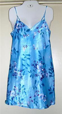 La Intimates Chemise Night Gown Med Large Aqua Floral New
