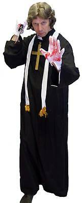 HALLOWEEN Horror VICAR with Scarf, Weapon, Cross & Blood Tube  ALL SIZES/PLUS