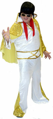 Men/'s Black KING OF ROCK AND ROLL Fancy Dress 1950/'s 60/'s Costume-Tribute Act
