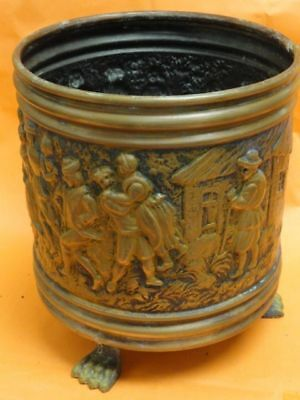 Antique Hand Embossed Copper Bin Made In Belgium