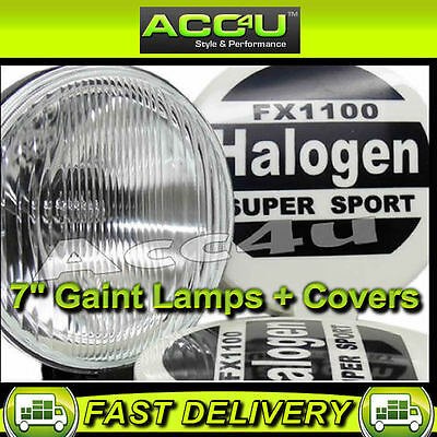 """12v 4x4 SW 7"""" Super Sport Giant Round Driving Halogen Spot Lamps Lights + Covers"""