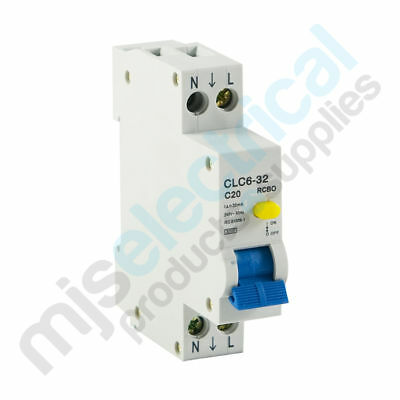 RCD / MCB Safety Switch 1 Pole 10A 16A 20A RCBO Switchboard Electrical Supplies