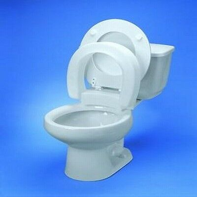 Hinged Raised Elongated Oval Extended Toilet Seat Riser